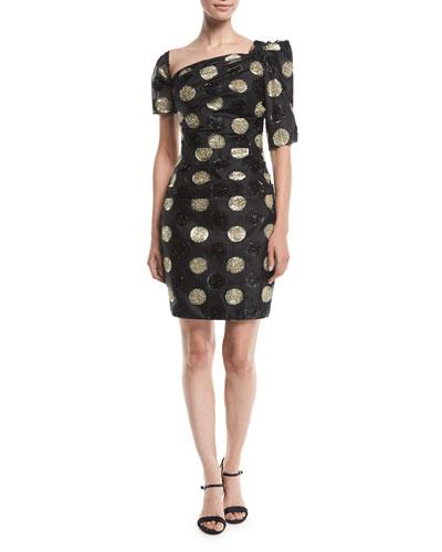 Vivian Asymmetric Polka Dot Fil Coupe Dress