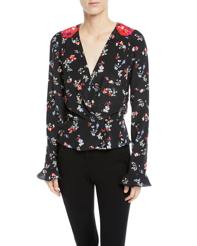 34af6063c134d Quick Look. Tanya Taylor · Clio Floral Long-Sleeve Silk V-Neck Top