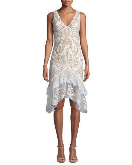 Jonathan Simkhai Guipure Lace V-Neck Tiered Cocktail Dress