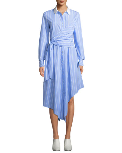 Asymmetric Long-Sleeve Wrapped Oxford Dress