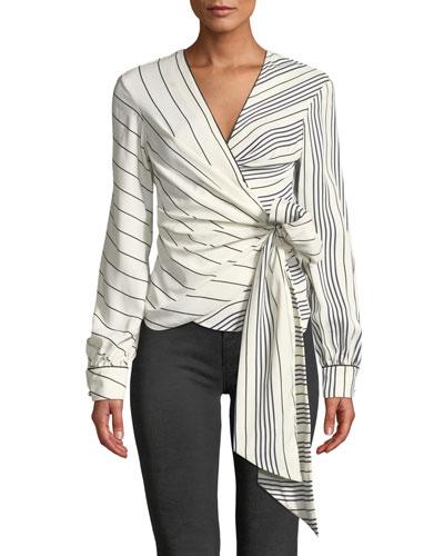 Multimedia Stripe Long-Sleeve Wrap Top