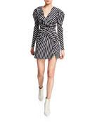 Jonathan Simkhai Multimedia Striped Ruffle Short Dress