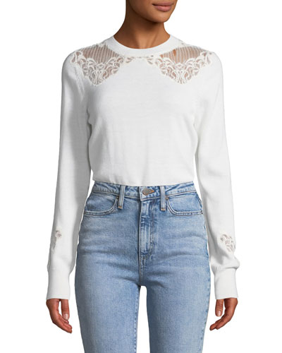 Lace Applique Crewneck Pullover Sweater