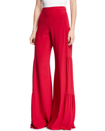 Talley Shirred Wide-Leg Silk Pants