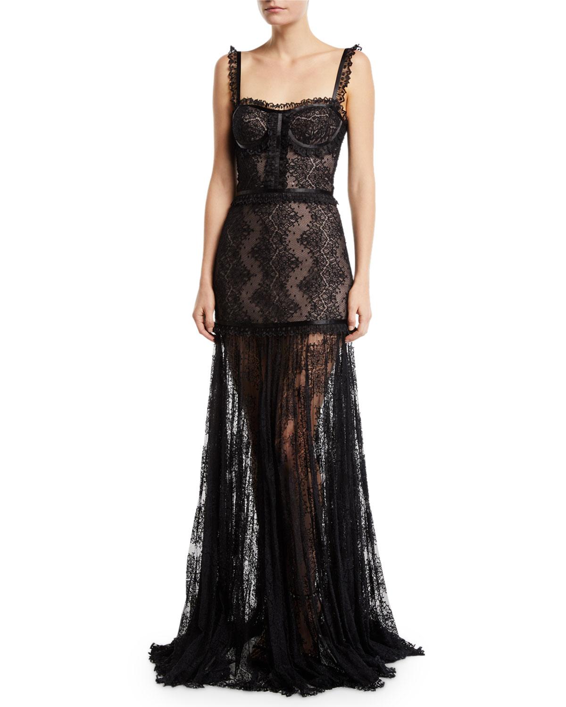 Kieran Lace Bustier Cocktail Dress in Black Lace