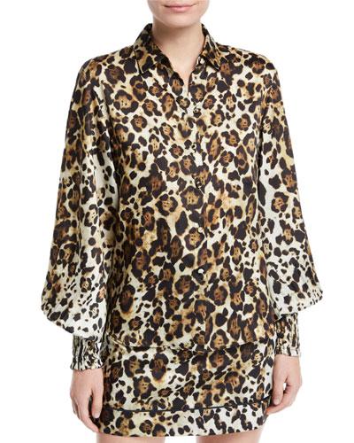 Romana Leopard-Print Button-Down Top