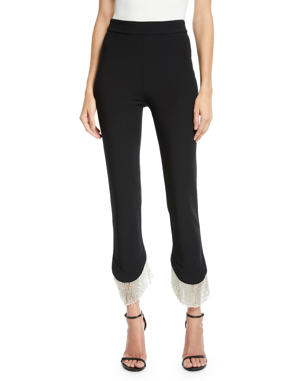 Ashley Asymmetrical Fringe Skinny Pants in Black