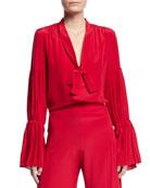 Alexis Tobit Tie-Neck Shirred Silk Top