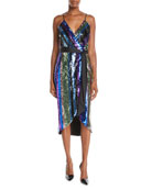 Aidan by Aidan Mattox Sequin Stripe Sleeveless Wrap