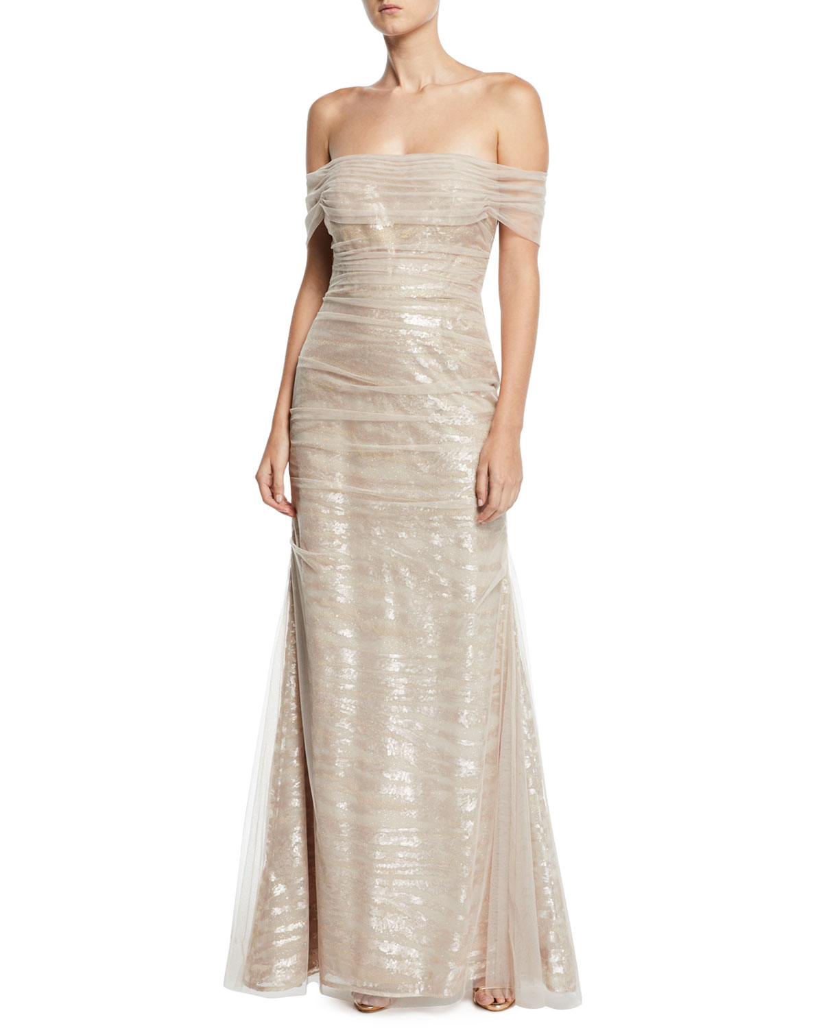 Off-the-Shoulder Tulle Gown w/ Sequin Embroidery