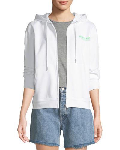 Zip-Front Cotton Logo Hoodie Sweatshirt