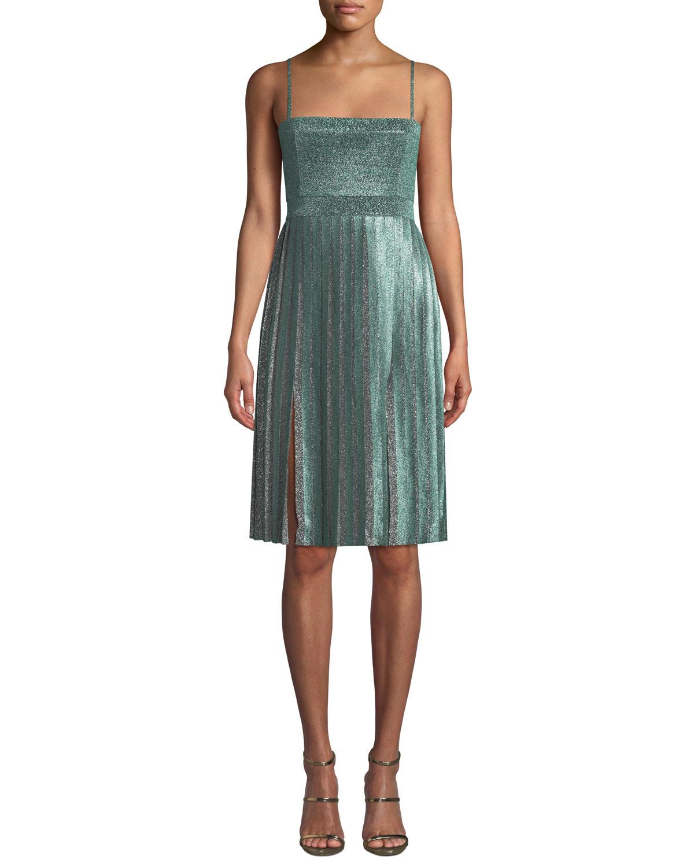 Janelle Double-Slit Metallic Dress