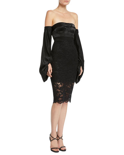 Constance Strapless Long-Sleeve Lace Dress