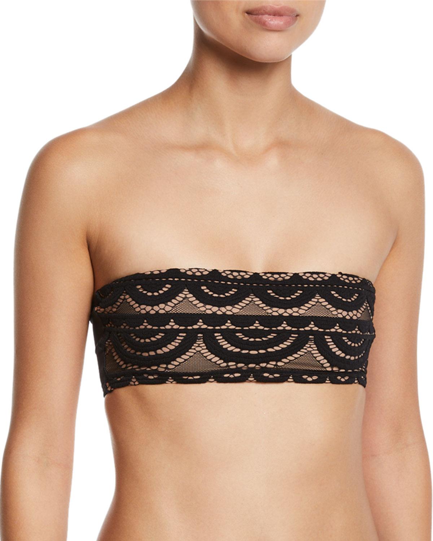 PILYQ Lace Bandeau Bikini Top in Black