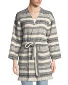 Eileen Fisher Striped Organic Cotton Bracelet-Sleeve Jacket w/