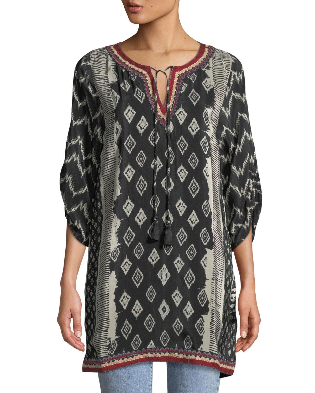 TOLANI Journey Ikat-Print Tunic Dress, Plus Size in Black Ikat