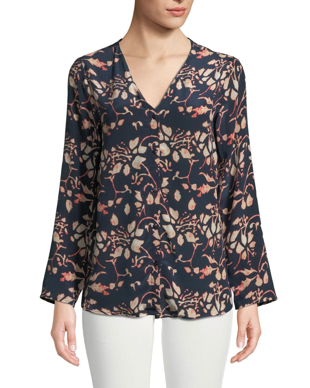 TOLANI Greer Foliage-Print Button-Front Silk Blouse, Plus Size in Foilage
