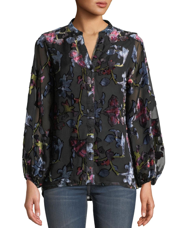 TOLANI Melany Floral Burnout Velvet Long-Sleeve Shirt, Plus Size in Noire