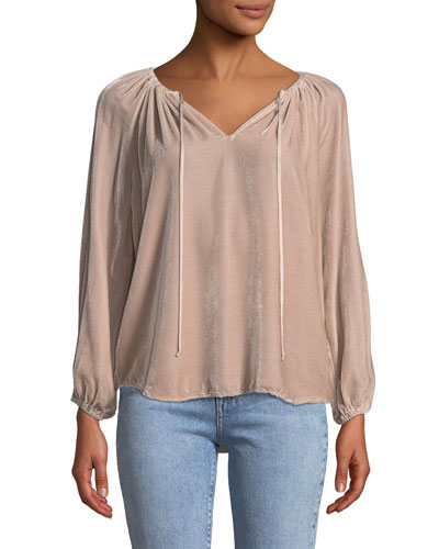 Rebecca Velvet V-Neck Long-Sleeve Top