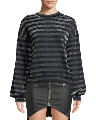 Magnus Striped Metallic Slouchy Sweater