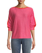 Eileen Fisher Colorblock Linen Long-Sleeve Sweater