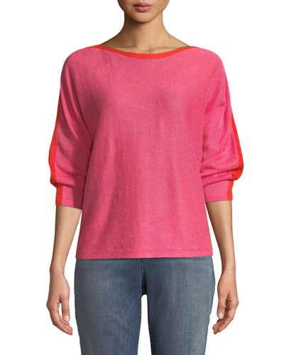 Colorblock Linen Long-Sleeve Sweater