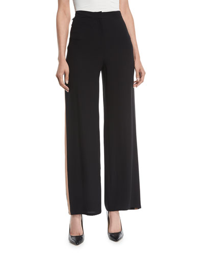 Petite Side-Striped Silk Crepe Pants