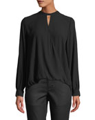 Eileen Fisher Overlap-Front Silk Crepe Blouse and Matching