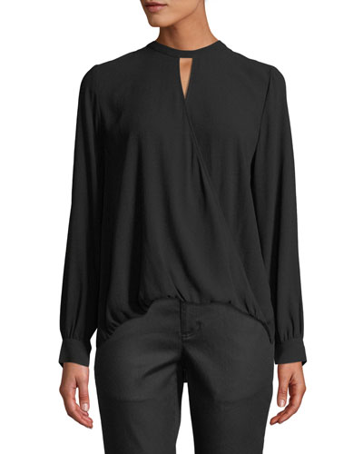 Overlap-Front Silk Crepe Blouse