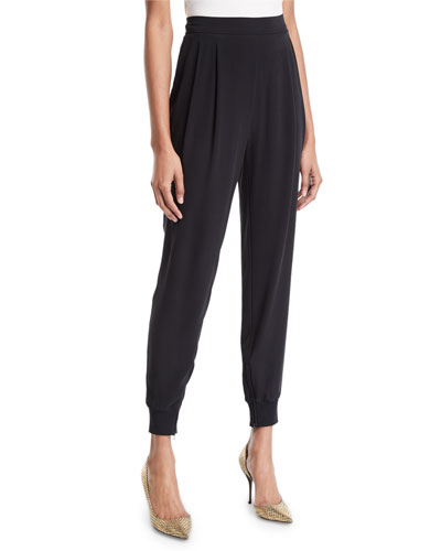 Silk Crepe Pull-On Jogger Pants w/ Ankle-Zip, Plus Size
