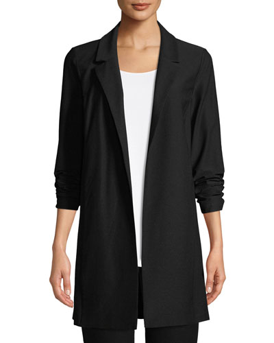 Open-Front Long-Sleeve Stretch Crepe Jacket, Petite