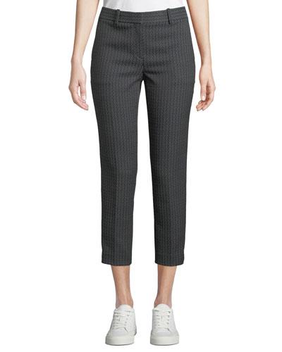 Treeca Jacquard Slim-Fit Cropped Pants