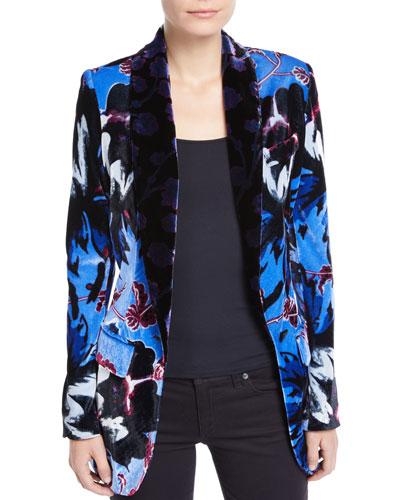 Tommy Velvet Floral Single-Button Blazer