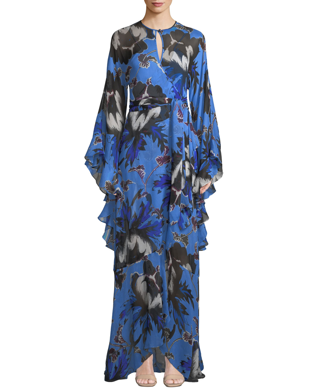 Lizella Ruffled Floral-Print Crepon Wrap Maxi Dress in Blue
