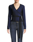Diane von Furstenberg Laura Cropped Long-Sleeve Wrap Top