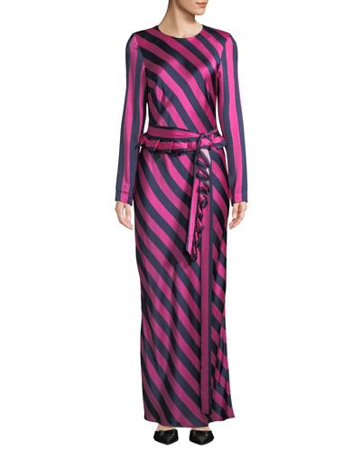 Get Em Girl Striped Silk Long-Sleeve Dress