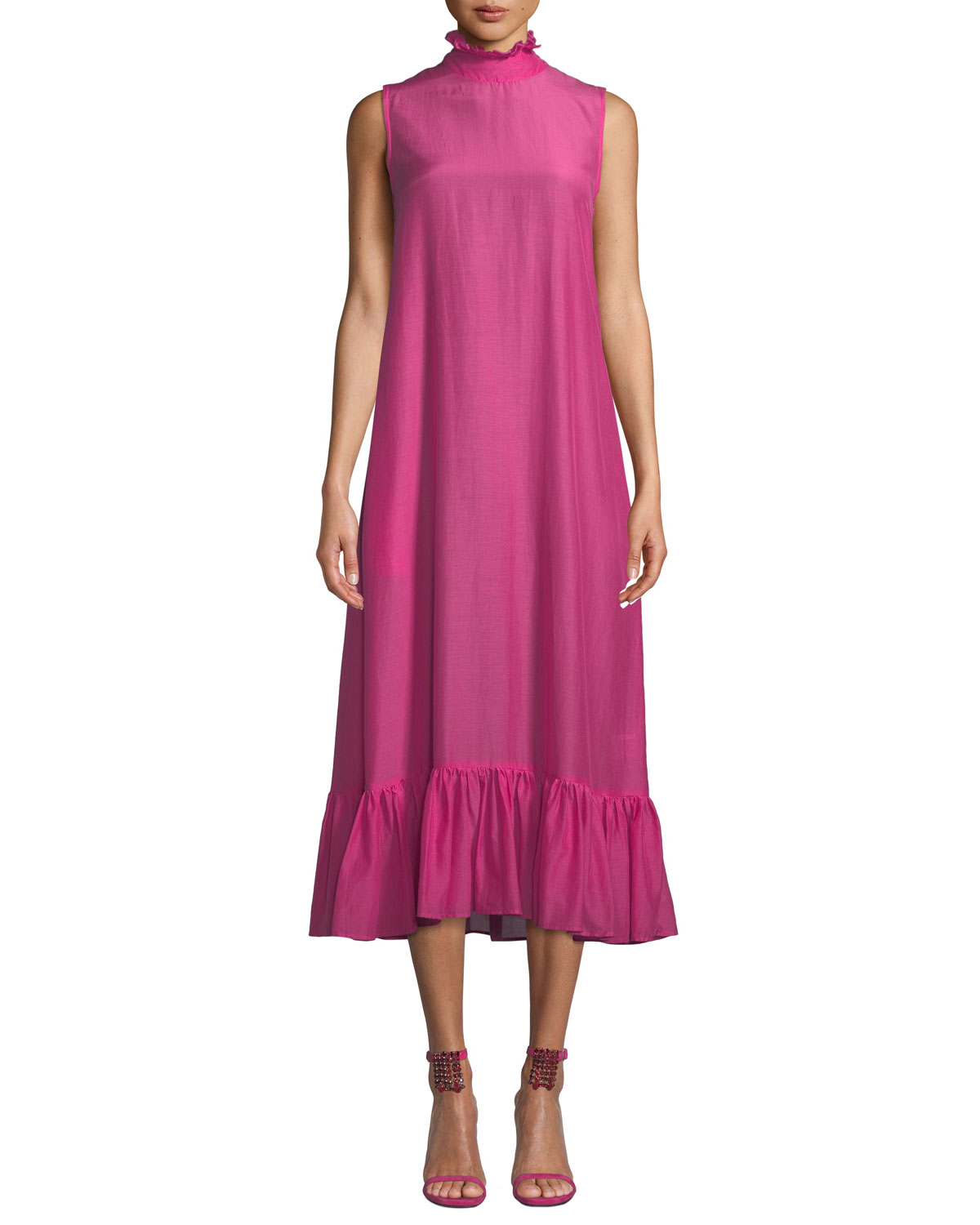 Floating On The Clouds High-Neck Dress in Pink