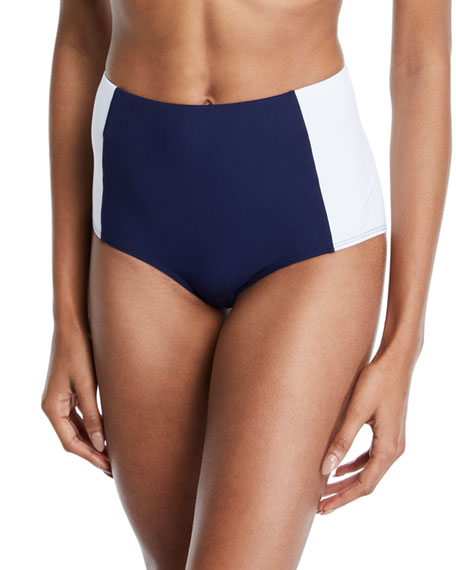 Tory Burch Lipsi High-Waist Colorblock Bikini Swim Bottoms