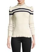 Maggie Marilyn Far Far Away Striped Ruffle Wool
