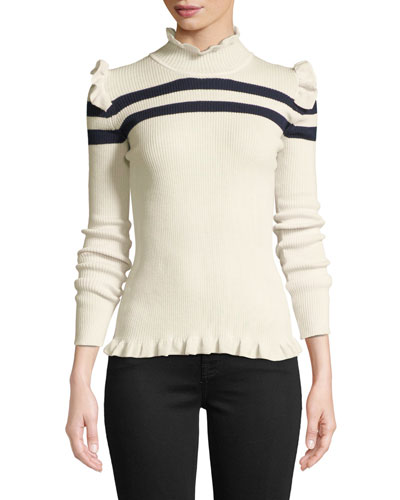Far Far Away Striped Ruffle Wool Sweater