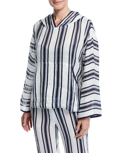 Awning Stripe Linen Coverup Hoodie