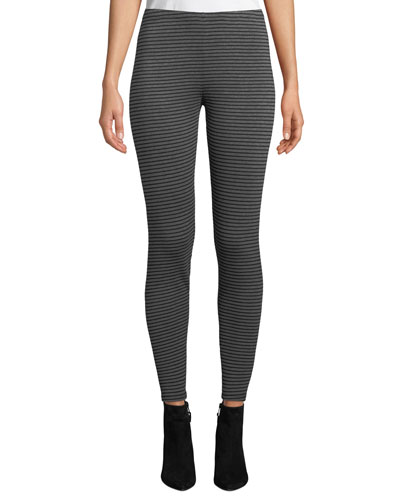 Striped Stretch Terry Ankle Leggings, Plus Size