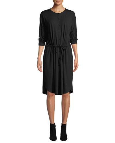 Petite Long-Sleeve Button-Front Drawstring Jersey Dress