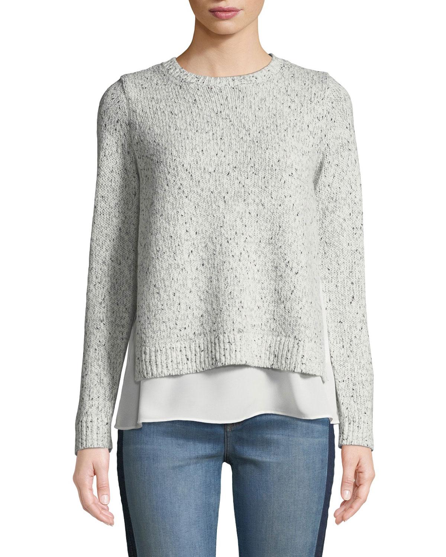 CLUB MONACO Kaelane Mixed Media Pullover Sweater in Gray/White