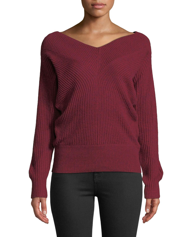 CLUB MONACO Jemma Ribbed V-Neck Pullover Sweater in Red Pattern