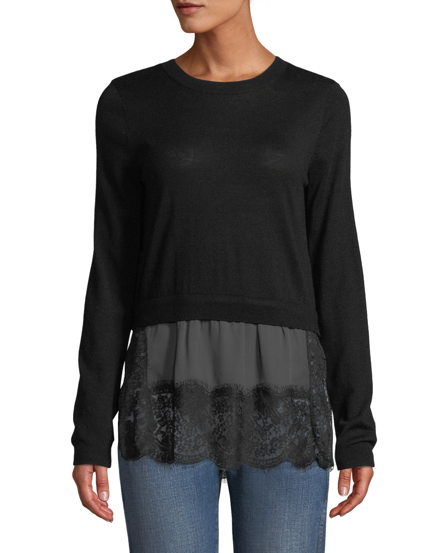CLUB MONACO Yahira Wool Sweater With Lace Underlay in Black/Gray