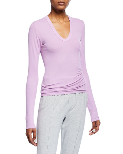 Rib-Knit Fitted U-Neck Pullover Sweater