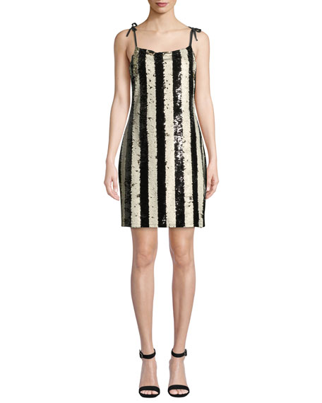 Cupcakes and Cashmere Johan Striped Sequin Cocktail Dress