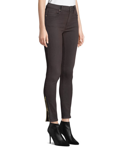 Barbara High-Rise Ankle Skinny Jeans with Zipper Cuffs
