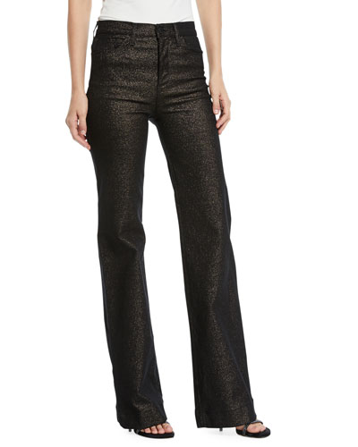 Holly High-Rise Metallic Wide-Leg Jeans